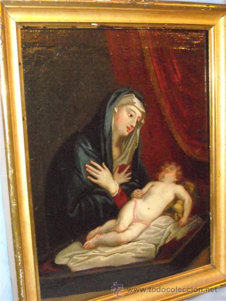 EXTRAORDINARIA PINTURA DE FINALES DEL XVII, VIRGEN CON NIÑO (Arte - Arte Religioso - Pintura Religiosa - Oleo)