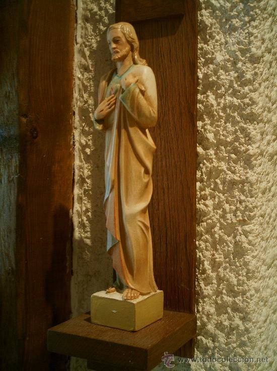 IMAGEN DE SAGRADO CORAZÓN DE JESÚS CON MÉNSULA.ANTIGUA. (Arte - Arte Religioso - Escultura)