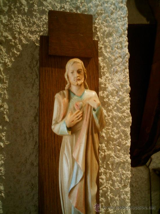 Arte: Imagen de Sagrado Corazón de Jesús con ménsula.Antigua. - Foto 2 - 26944619