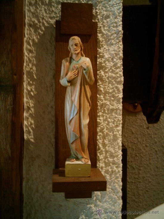 Arte: Imagen de Sagrado Corazón de Jesús con ménsula.Antigua. - Foto 3 - 26944619