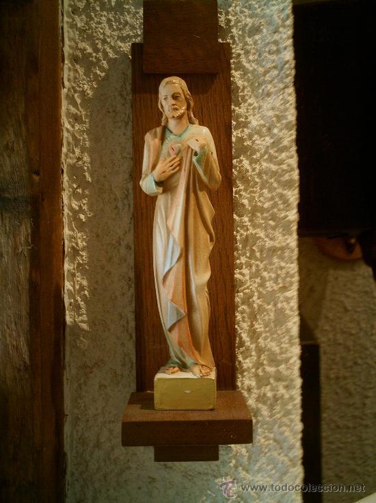Arte: Imagen de Sagrado Corazón de Jesús con ménsula.Antigua. - Foto 4 - 26944619
