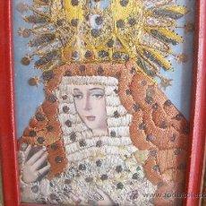 Arte: CUADRO BORDADO VIRGEN MARIA ANTIGUO. Lote 26830810