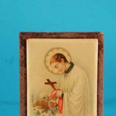 Arte: CUADRO : SAN LUIS GONZAGA.PATRON DE LA JUVENTUD CATÓLICA. CELULOIDE 1850/1880. Lote 13739112