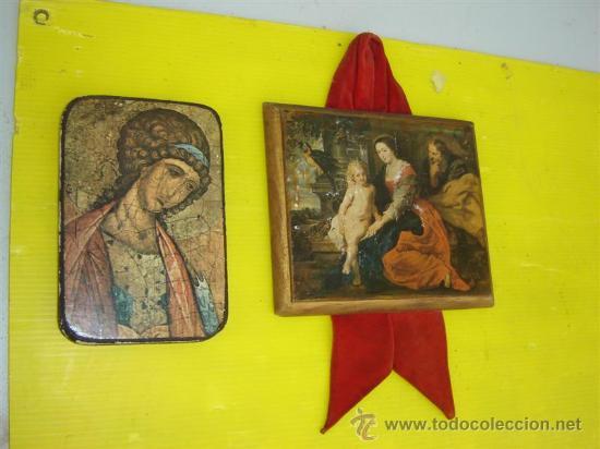 2 CUADROS EN MADERA Y LAMINA RELIGIOSO (Arte - Arte Religioso - Pintura Religiosa - Otros)