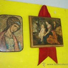 Arte: 2 CUADROS EN MADERA Y LAMINA RELIGIOSO. Lote 13853724