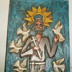 Arte: TALLA DE MADERA RELIGIOSA EN RELIEVE Y POLICROMADA.. Lote 27312170