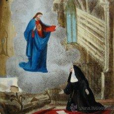 Arte: MEDALLON CRISTAL CONCAVO PINTURA DE STª MARIA MARGARITA DE ALACOQUE. SG.XIX. ORLA METAL. Lote 16881944