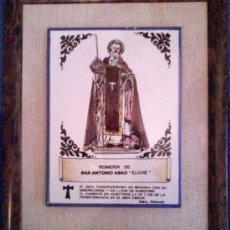 Arte: AZULEJO ENMARCADO SAN ANTONIO ABAD - SAN ANTÓN ELCHE. Lote 26857931
