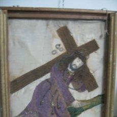 Arte: CUADRO - CRISTO NAZARENO BORDADO EN TELA.. Lote 27301510