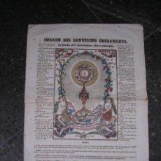 Arte: GRABADO COLOREADO A LA TREPA DE EPOCA-S.XVIII,IMAGEN DEL SANTISIMO SACRAMENTO,44X32 CM.. Lote 17192242