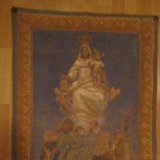 Arte: ANTIGUA PINTURA RELIGIOSA EN TELA DE OTOMAN A MODO DE TAPIZ DE LA VIRGEN NUESTRA SEÑORA DEL CARMEN. Lote 17309355