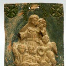 Arte: ALTO RELIEVE RELIGIOSO VIRGEN CON NIÑO Y ÁNGELES EN TERRACOTA S XVIII. Lote 27255117