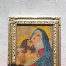 Arte: CUADRO EN LAMINA RELIGIOSA Y MARCO DORADO. Lote 19791089