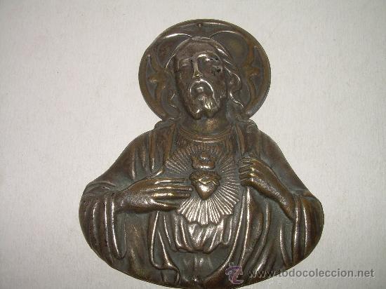 ANTIGUA IMAGEN DEL SAGRADO CORAZON.....QUE SE PONIA EN LAS PUERTAS. (Arte - Arte Religioso - Escultura)