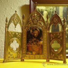 Arte: RELIGIOSO TRIPTICO EN METAL LACADO.. Lote 27396832