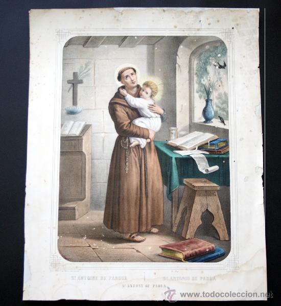 GRABADO LITOGRÁFICO ILUMINADO - S. ANTONIO - ED. TURGUIS - PARÍS - S. XIX (Arte - Arte Religioso - Grabados)