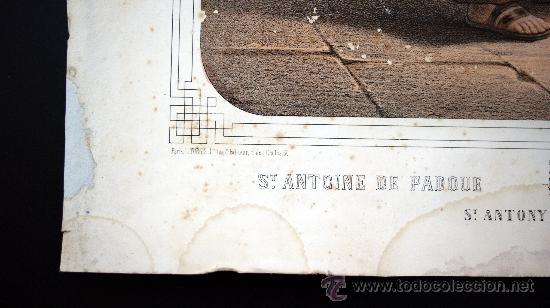 Arte: GRABADO LITOGRÁFICO ILUMINADO - S. ANTONIO - ED. TURGUIS - PARÍS - S. XIX - Foto 3 - 33282891