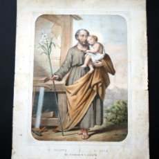 Arte: GRABADO LITOGRÁFICO ILUMINADO - S. JOSÉ - ED. TURGUIS - PARÍS - S. XIX. Lote 27225841