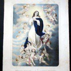 Arte: GRABADO LITOGRÁFICO ILUMINADO - LA INMACULADA CONCEPCIÓN - ED. TURGUIS - PARÍS - S. XIX. Lote 27109584
