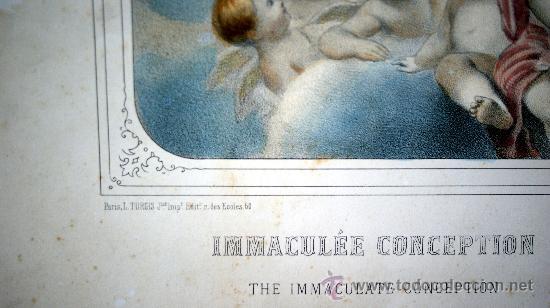 Arte: GRABADO LITOGRÁFICO ILUMINADO - LA INMACULADA CONCEPCIÓN - ED. TURGUIS - PARÍS - S. XIX - Foto 3 - 27109584