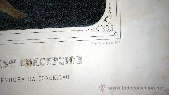 Arte: GRABADO LITOGRÁFICO ILUMINADO - LA INMACULADA CONCEPCIÓN - ED. TURGUIS - PARÍS - S. XIX - Foto 4 - 27109584