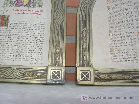 Arte: SACRAS RELIGIOSAS TRIPTICO. BRONCE. ART DECÓ. 1920´S. TEXTO LITURGICO - - Foto 4 - 102716403
