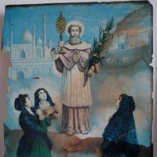 Arte: 1820.- GRABADO CON MOTIVO RELIGIOSO ILUMINADO FIRMADO Y FECHADO A MANO POR JOHN CONSTABLE. SAN RAMON. Lote 27163863