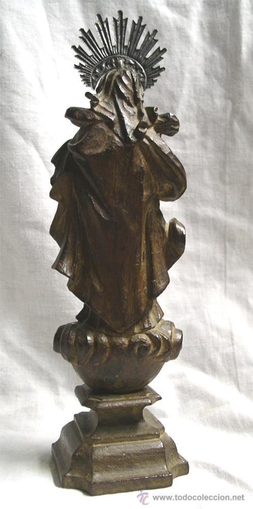 Arte: Virgen de la Purísima S XIX, corona de plata, talla madera de Cedro. Med. Alt. 26 x 8 x 8 cm - Foto 3 - 26831083