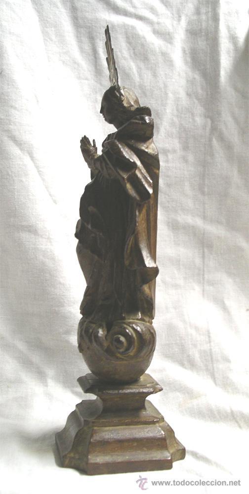 Arte: Virgen de la Purísima S XIX, corona de plata, talla madera de Cedro. Med. Alt. 26 x 8 x 8 cm - Foto 4 - 26831083