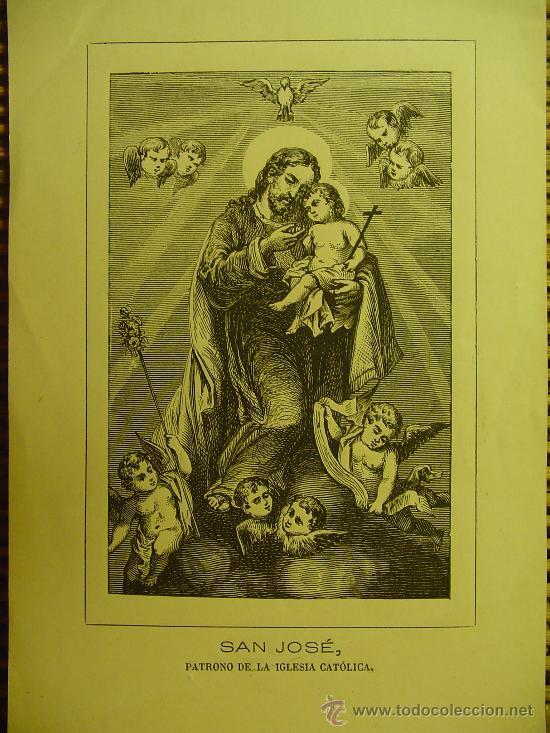 PEQUEÑO GRABADO RELIGIOSO SAN JOSÉ . SIGLO XIX. (Arte - Arte Religioso - Grabados)