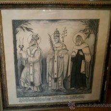 Arte: CUADRO A CARBONCILLO DE LOS SANTOS S. CIRILO S.TELESFORO Y S. HILARIÓN FIRMA DANIEL H. PUERTAS 1948. Lote 27461672