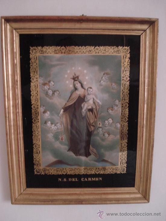 VIRGEN DEL CARMEN . GRABADO COLOREADO ILUMINADO - MARCO ORO FINO.- S. XIX CON INDULGENCIAS (Arte - Arte Religioso - Grabados)