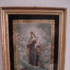 Arte: VIRGEN DEL CARMEN . GRABADO COLOREADO ILUMINADO - MARCO ORO FINO.- S. XIX CON INDULGENCIAS. Lote 27367989