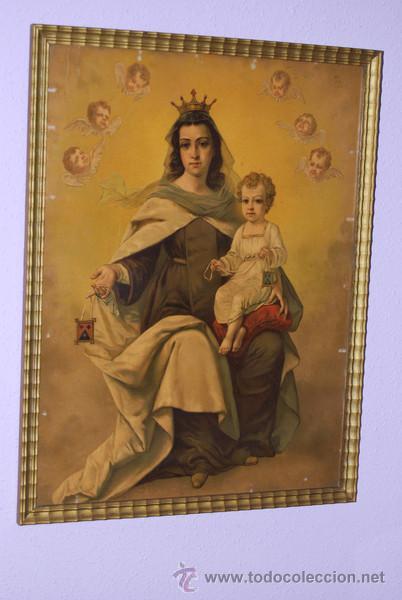 ANTIGUO CUADRO DE LA VIRGEN DEL CARMEN - AÑOS 40 (Arte - Arte Religioso - Pintura Religiosa - Otros)