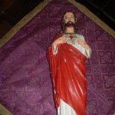 Arte: CORAZON DE JESUS DE YESO MUERTO. Lote 22640136