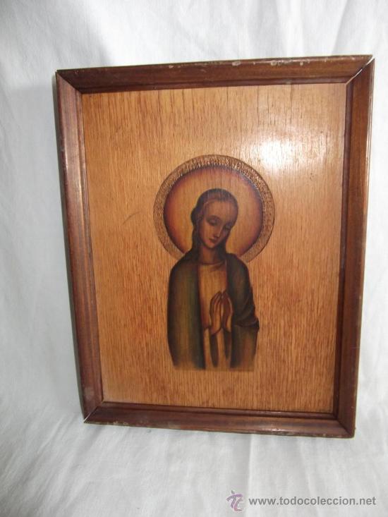 ANTIGUO CUADRO DE VIRGEN DIBUJADO ENCIMA DE LA MADERA 21 CM X 16 CM (Arte - Arte Religioso - Pintura Religiosa - Otros)