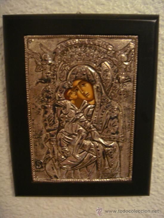 CUADRO RELIGIOSO DE PLATA. ICONO RELIGIOSO DE PLATA. VIRGEN. GRIEGO. PLATA. ARTE BIZANTINO (Arte - Arte Religioso - Pintura Religiosa - Otros)