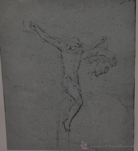 ANÓNIMO DEL SIGLO XIX. DIBUJO A LÁPIZ GRASO DE TEMA RELIGIOSO. (ESBOZOS) (Arte - Arte Religioso - Pintura Religiosa - Otros)