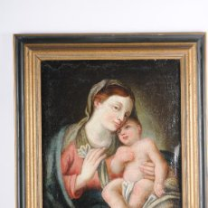 Arte: OLEO SOBRE TELA, VIRGEN CON NIÑO, S.XVIII. Lote 25823358