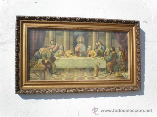 LAMINA DE LA SANTA CENA CON MARCO DE MADERA DORADA (Arte - Arte Religioso - Pintura Religiosa - Otros)