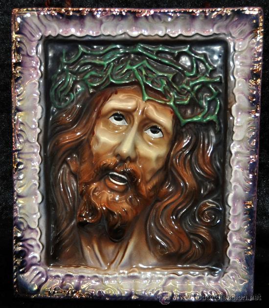 ECCE HOMO. BONITO PLAFÓN EN CERÁMICA VIDRIADA DE PRINCIPIOS DEL SIGLO XX (Arte - Arte Religioso - Pintura Religiosa - Otros)
