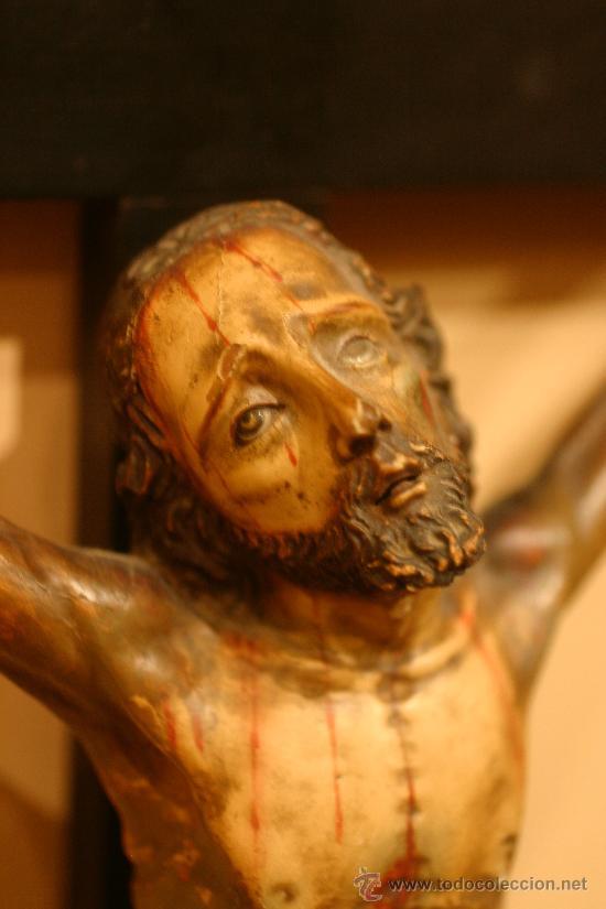 TALLA DE MADERA DE CRISTO CRUCIFICADO S.XIX (Arte - Arte Religioso - Escultura)