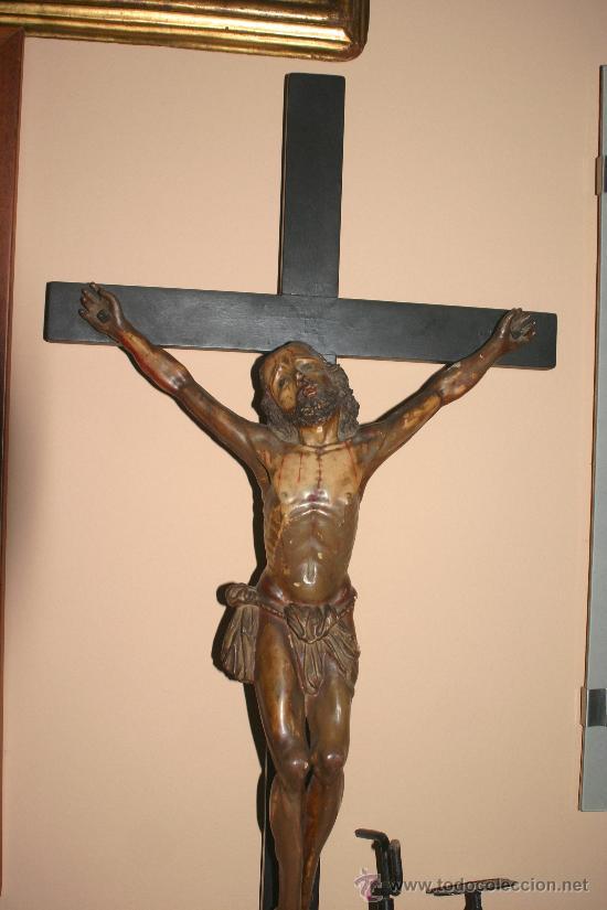 Arte: TALLA DE MADERA DE CRISTO CRUCIFICADO S.XIX - Foto 9 - 24637528