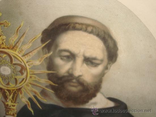 Arte: antiguo grabado religioso santo, en antiguo marco de madera dorado y cristal, 50,5 x 40,5cm color - Foto 4 - 24945397