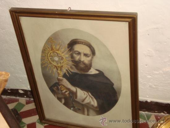 Arte: antiguo grabado religioso santo, en antiguo marco de madera dorado y cristal, 50,5 x 40,5cm color - Foto 5 - 24945397