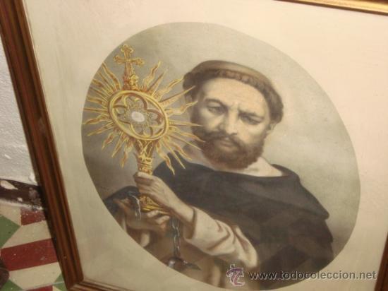 Arte: antiguo grabado religioso santo, en antiguo marco de madera dorado y cristal, 50,5 x 40,5cm color - Foto 3 - 24945397