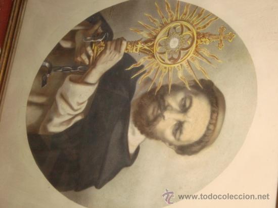 Arte: antiguo grabado religioso santo, en antiguo marco de madera dorado y cristal, 50,5 x 40,5cm color - Foto 2 - 24945397