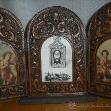 Arte: TRIPTICO MUY ANTIGUO EN PIEL LABRADA CON IMAGENES( VER FOTOS ADICIONALES). Lote 26661974