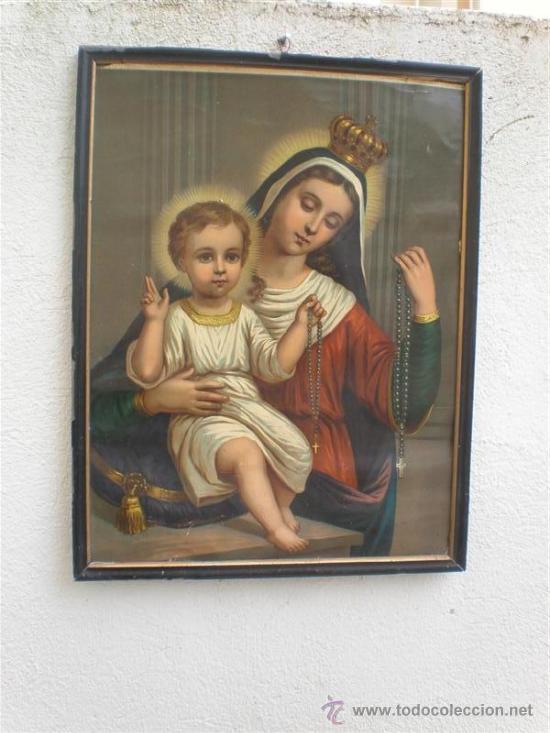 MARCO Y LAMINA DE VIRGEN ANTIGUA (Arte - Arte Religioso - Pintura Religiosa - Otros)