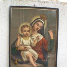 Arte: MARCO Y LAMINA DE VIRGEN ANTIGUA. Lote 25350427